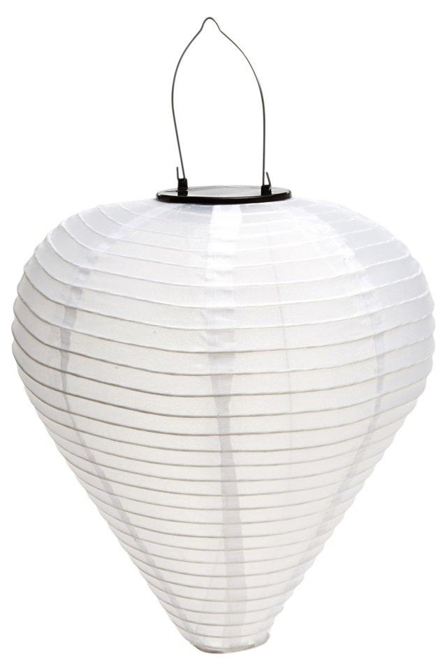 "17"" Solar Cone Lantern, White"