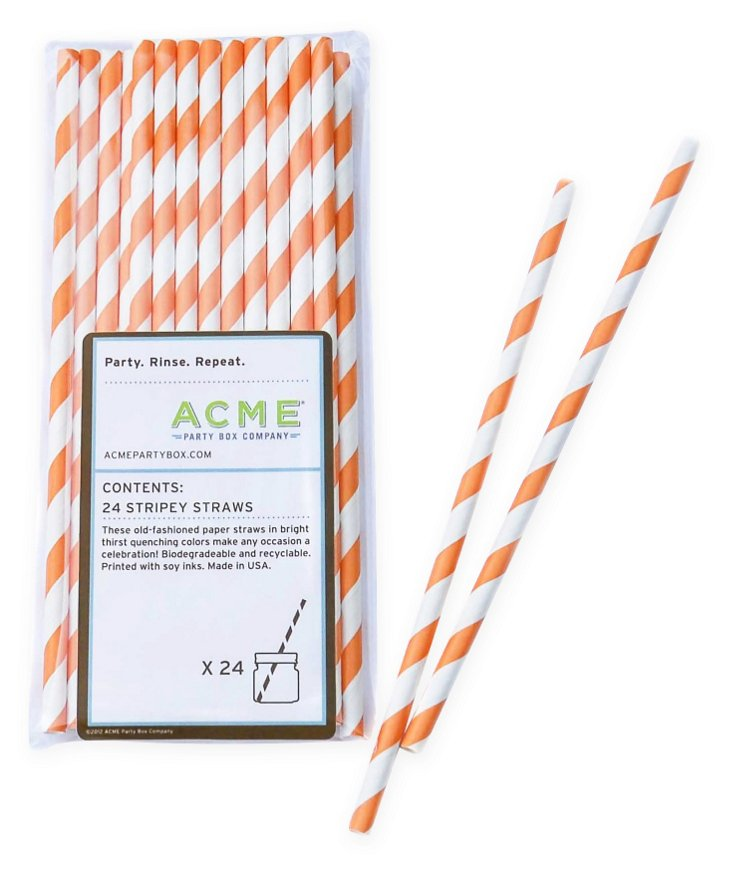S/96 Stripey Straws, Orange