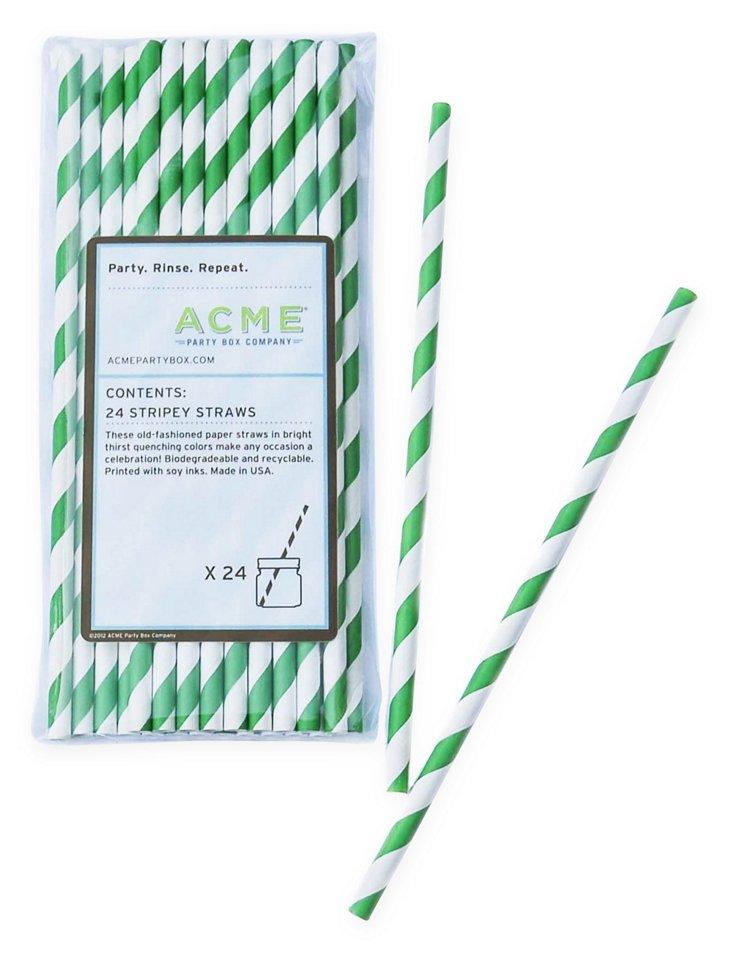 S/96 Stripey Straws, Green