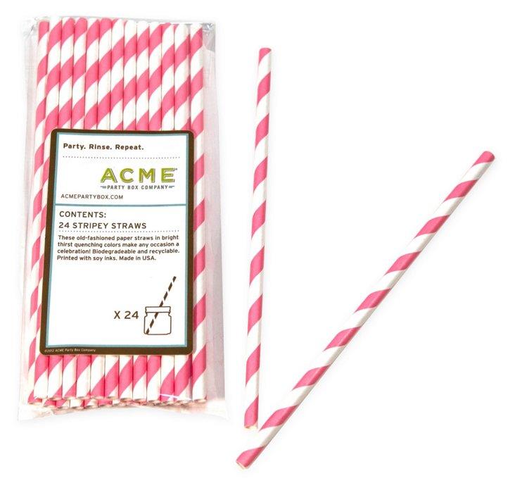 S/96 Stripey Straws, Pink