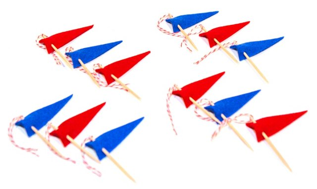 S/12 Assorted Cupcake Toppers, Red/Blue
