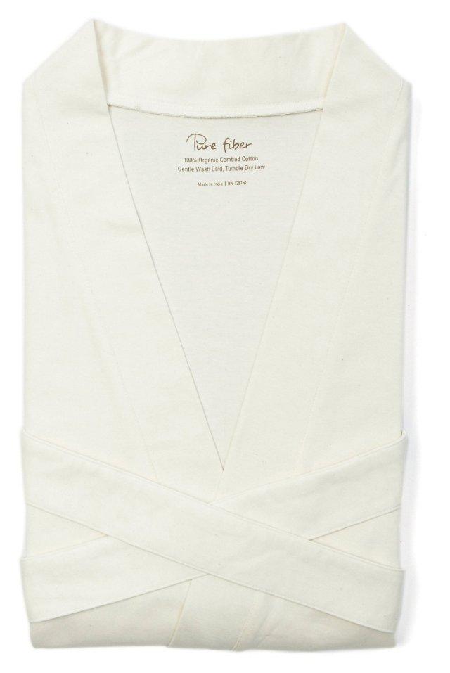 Organic Knit Bathrobe, Ecru White