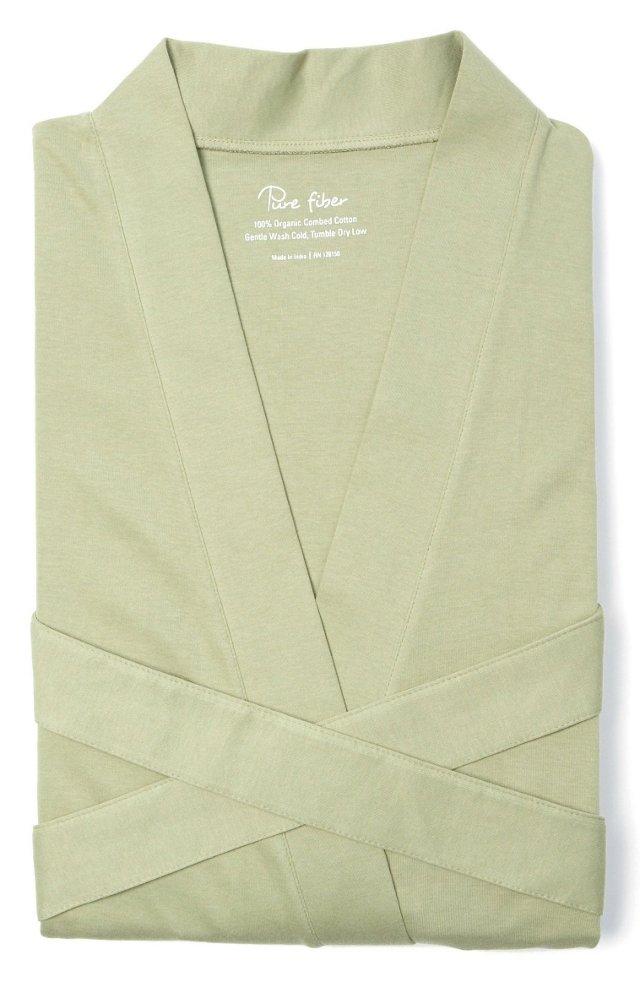 Organic Knit Bathrobe, Sage Green