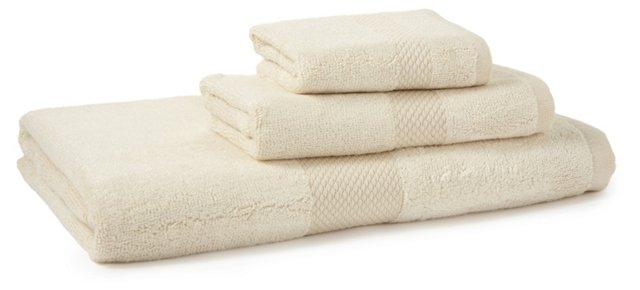 3-Pc Stripe Bamboo Towel Set, Ivory