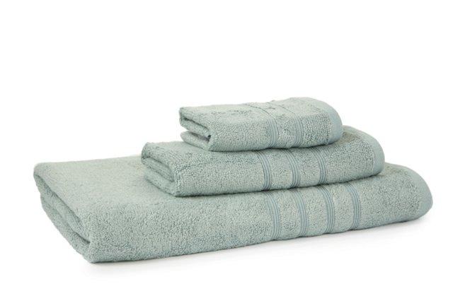 3-Pc Linea Bamboo Towel Set, Light Blue