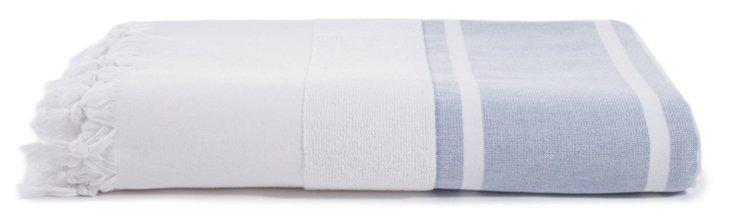 Ayrika Cotton Beach Blanket, Blue/White