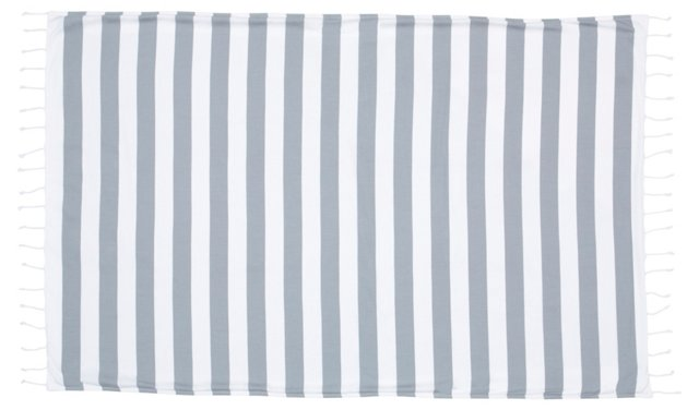 Striped Beach Towel, Light Gray