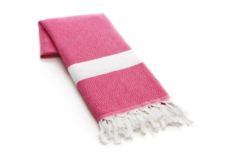 Herringbone Turkish Beach Blanket, Pink