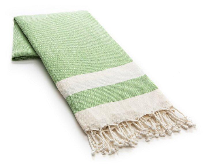 Khadi Cotton Beach Blanket, Green