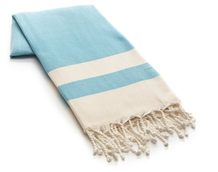 Khadi Cotton Beach Blanket, Turquoise
