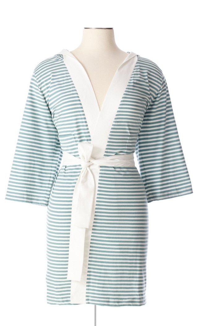 Striped Robe, Teal
