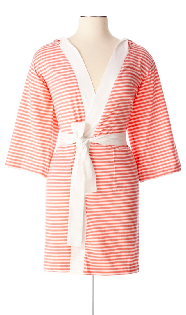 Striped Robe, White/Rose