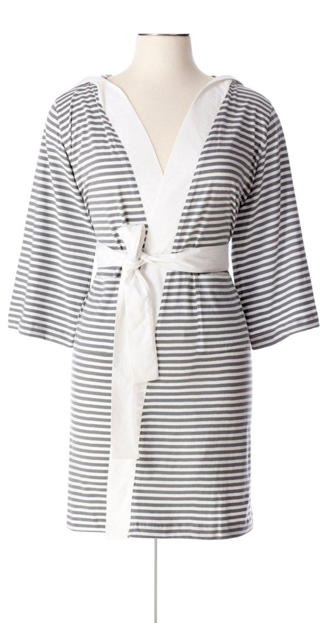 Striped Robe, White/Gray