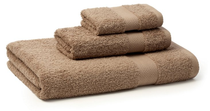 3-Pc Chevron Border Towel Set, Khaki