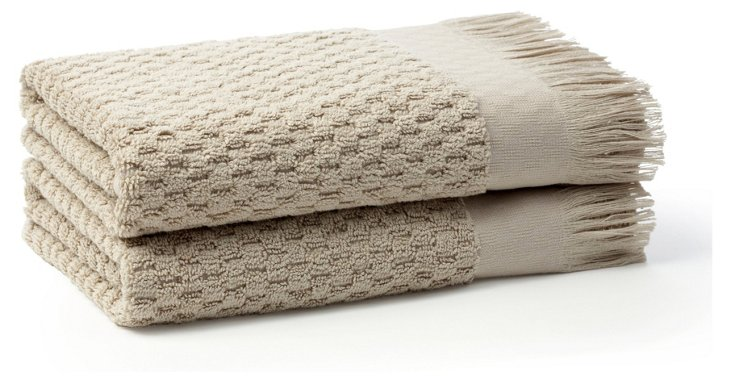 S/2 Hottuck Hand Towels, Oatmeal