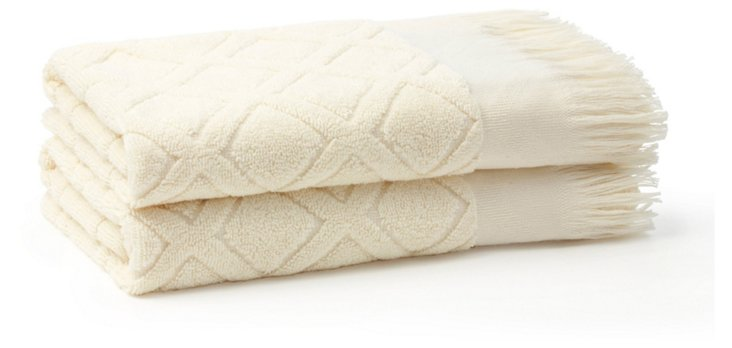 S/2 Trellis Hand Towels, White