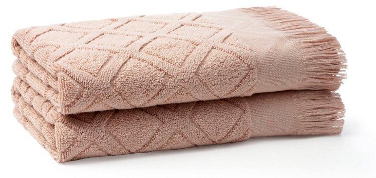 S/2 Trellis Hand Towels, Rose