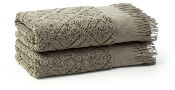 S/2 Trellis Hand Towels, Sage