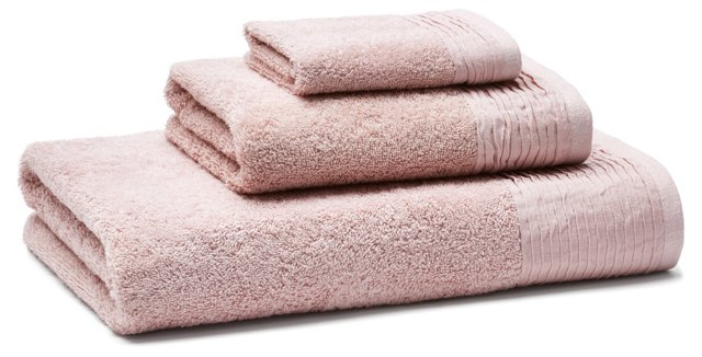 3-Pc Turkish Towel Set, Pleated Rose