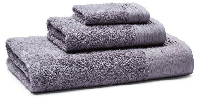 3-Pc Turkish Towel Set, Pleated Lavender
