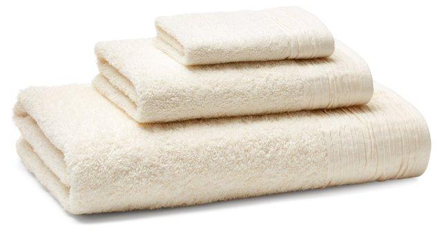 3-Pc Turkish Towel Set, Pleated Ivory