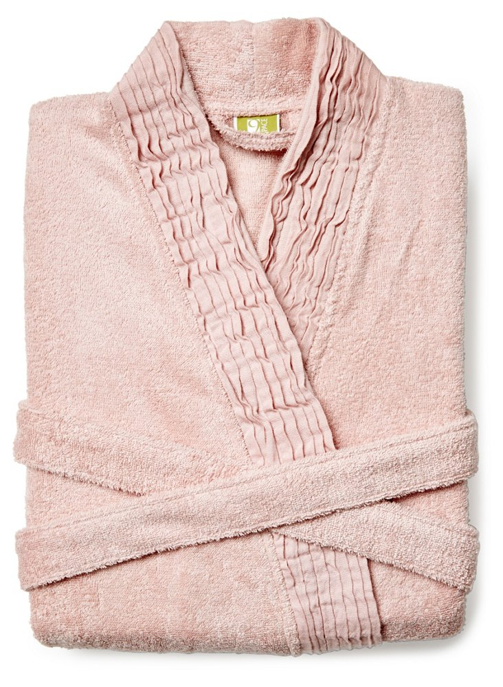 Pleated Robe, Dusty Rose