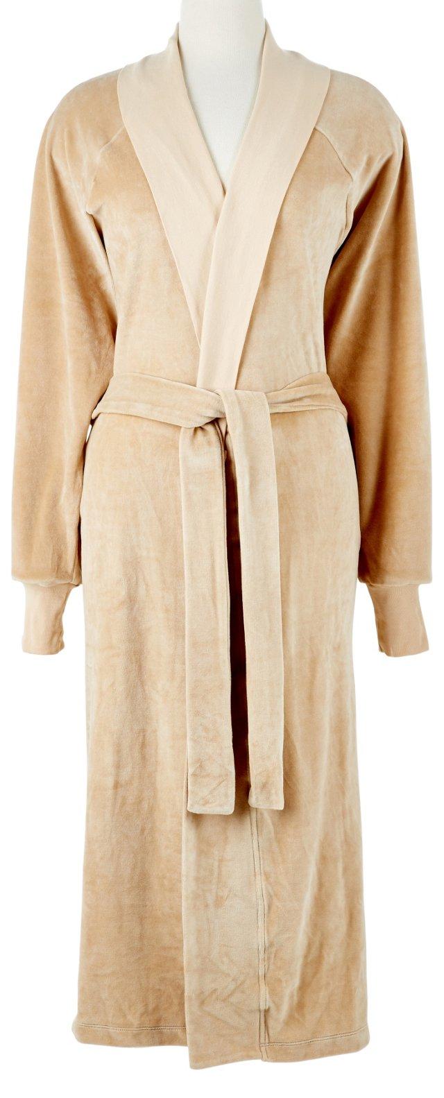Organic Cotton Velour Robe, Barley