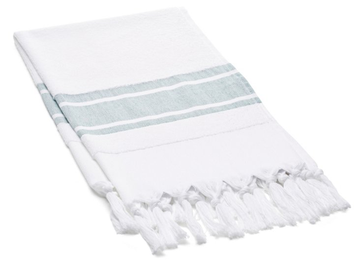 S/2 Soft Terry Hand Towels, Green