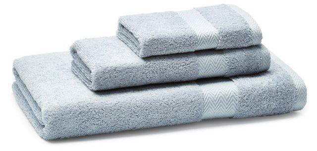 3-Pc Chevron Border Towel Set, Blue