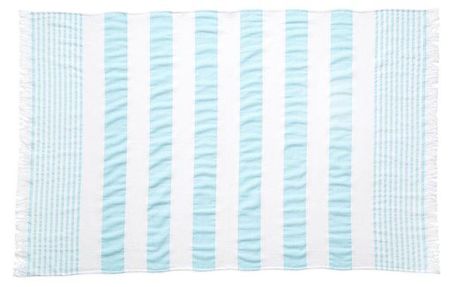 Carmel Stripe Beach Towel, Blue