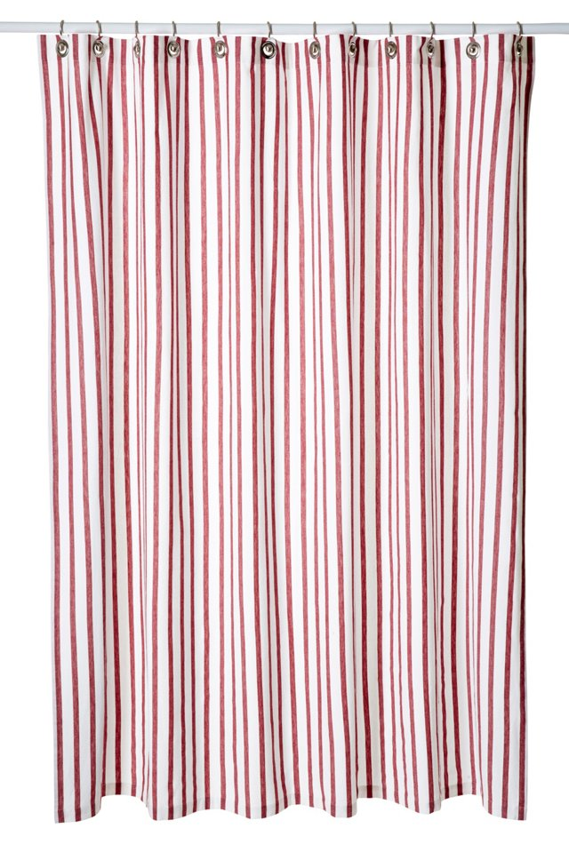 Thin Stripe Shower Curtain, Red