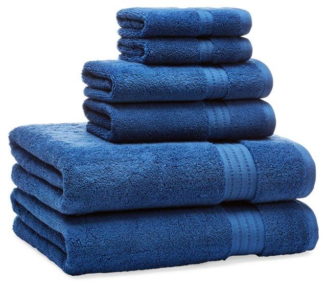 6-Pc Zero-Twist Towel Set, Blue
