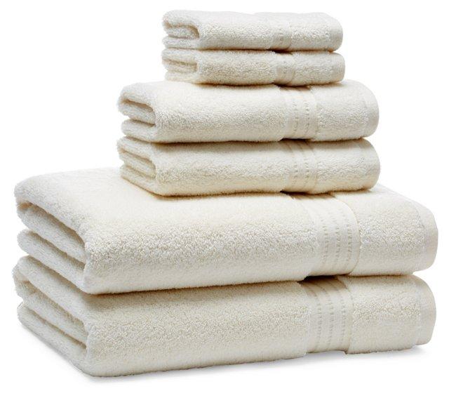 Zero-Twist 6- Piece Towel Set, Ivory