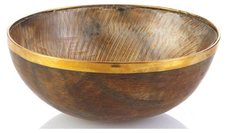 """7"""" Horn Bowl w/ Brass, Natural"""