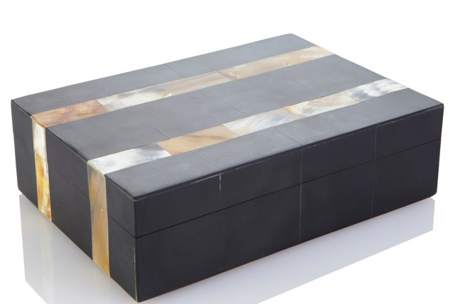 Horn Inlaid Double Stripe Box, Small