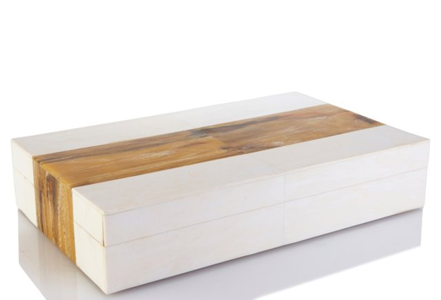 Horn Inlaid Stripe Box, White