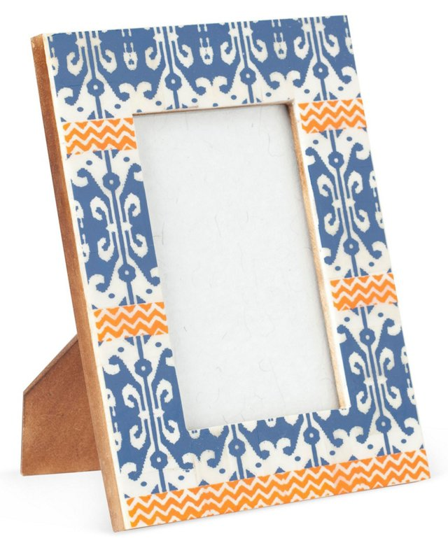 Printed Bone Frame, 4x6, Blue/Orange