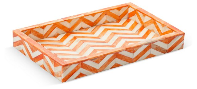 "11"" Bone-Inlaid Tray, Orange"