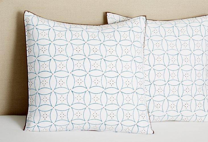 S/2 Euro Noelie Pillow Cases, Blue/Bark