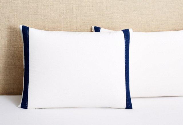 S/2 Eugenie Pillow Shams, White/Blue