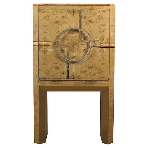 Highball Bar Cabinet, Light Burl
