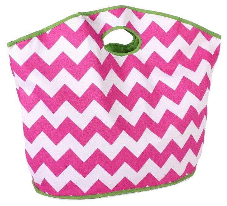 Chevron Grab Bag, Pink/White