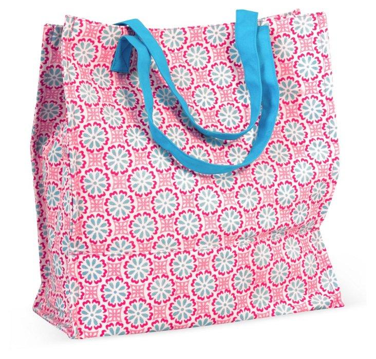 Lulu Shopper Tote, Pink/Blue