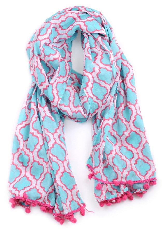 Chelsea Scarf, Aqua/Pink