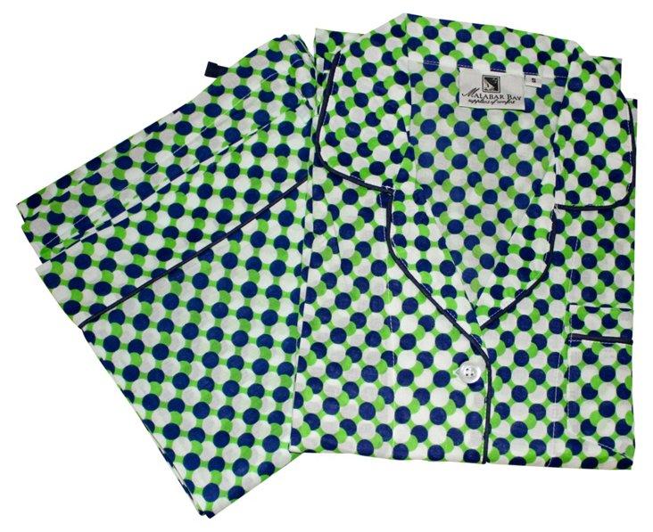 Mod Dots Long Pajama Set, Green/Navy