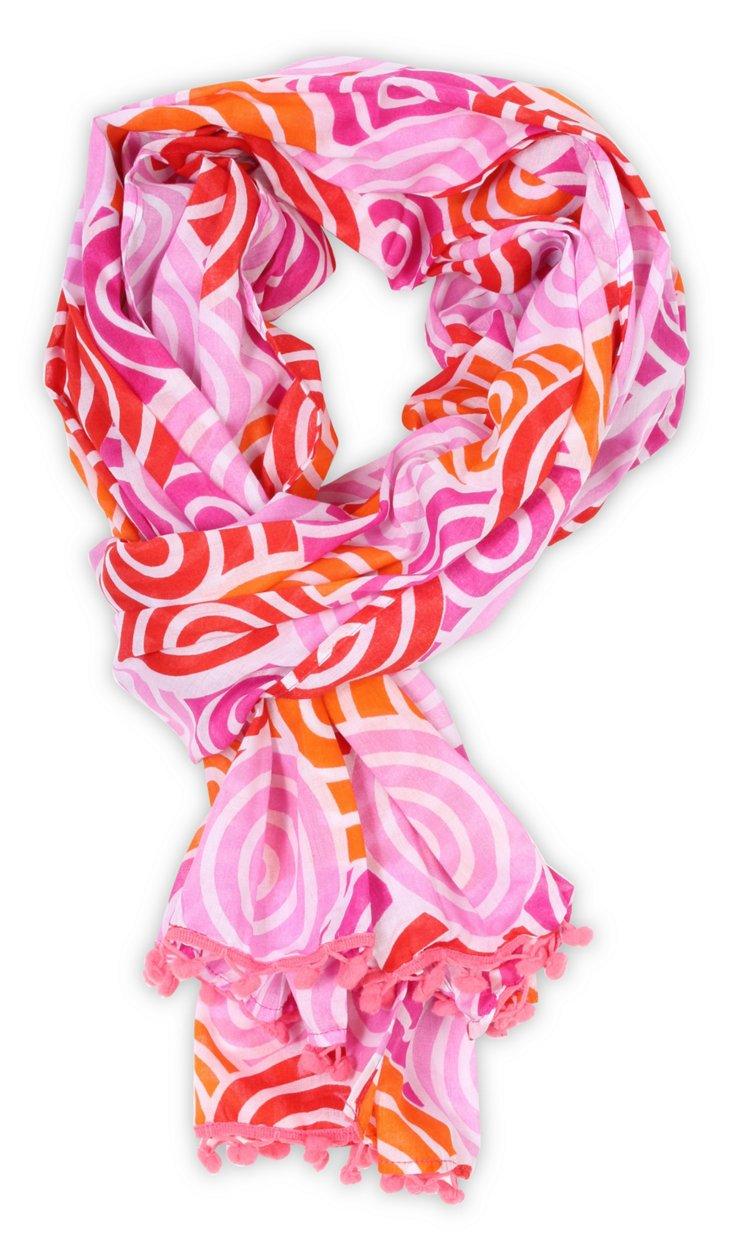 Swirl Pom Pom Scarf, Pink/Orange