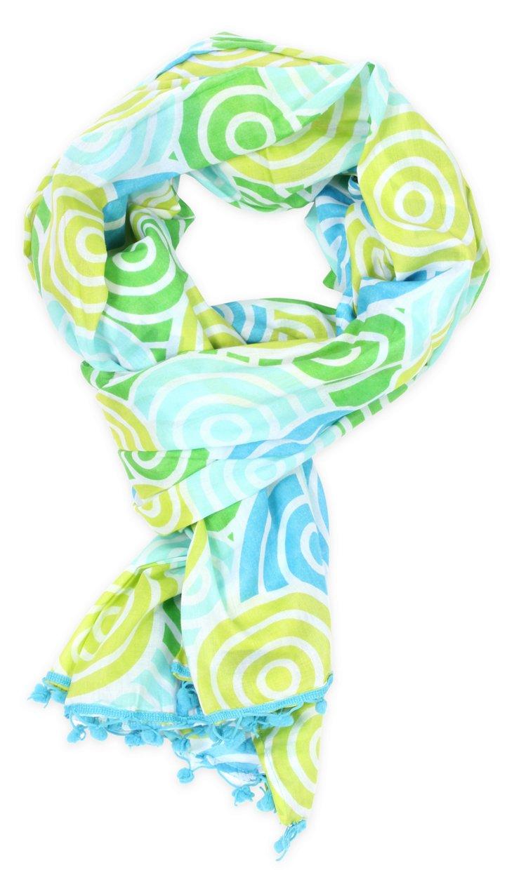 Swirl Pom-Pom Scarf, Blue/Green