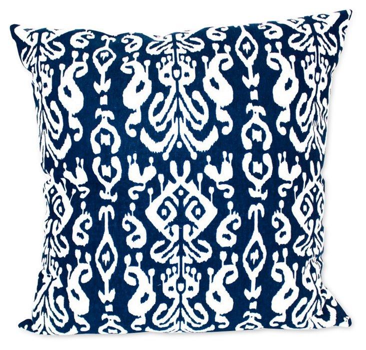Ikat Canvas Pillow Pillow, Navy