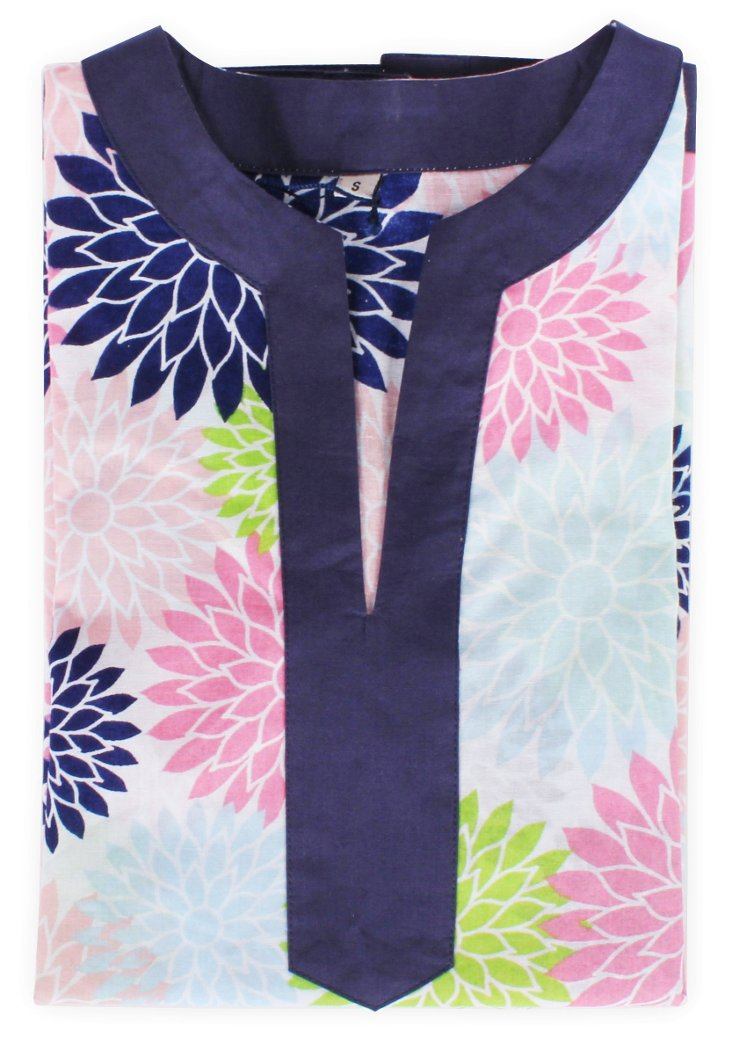 Floral Pop Color Girl's Tunic, Navy