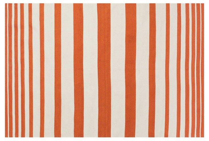 Patsy Outdoor Rug, Orange/White